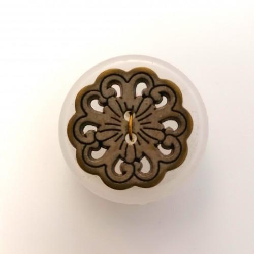 Metallinappi ornamentti 23 mm matta hopea