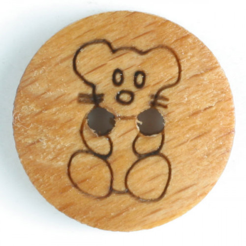 wood button - Size: 15mm - Color: brown - Art.-Nr.: 231605